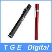 Free Shipping! MXDL XT-7224 3W Aluminum LED Flashlight Torch Light with Clip Black Red(2 x AAA)