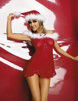 Sexy party christmas short dress  Red christmas clothes whit  a hat  christmas cosplay dress   Free shipping