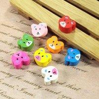 Wholesale 1000pcs/lot 16*15mm Mix Colour Bear Shape Wooden Beads For Bracelet/Necklace Jewelry Beads/Findings(MZ-C1502)