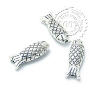 Wholesale 50pcs/lot 14*5mm Antique Silver Plated Zinc Alloy Metal Fish Charm/DIY Fashion Jewelry Accessories(BC055)