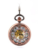 free shipping (4pcs/lot) red bronze  hollow mechanical pocket watch necklace,37.5cm chain