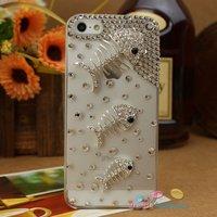 Чехол для для мобильных телефонов Fashion mobile phone case cover for iphone5/5G, clovers flower chain beads, bling rhinestone crystal pearl, 2colours