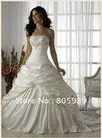 2012 Stock New Taffeta white&ivory Wedding Brides Dress size 6 8 10 12 14 16