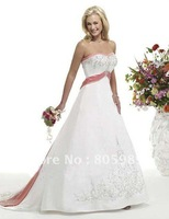 2012 Stock New Satin  the pictures color  Wedding Brides Dress size 6 8 10 12 14 16  PJ0005