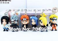 "Free shipping Anime Naruto 1.2"" PVC Toy Figure Key Chain  (6 pcs/set )"