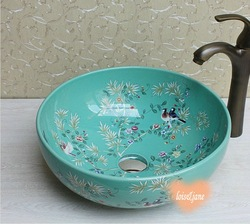 Brand New China Classic Painting Art Porcelain Antique Bathroom Countertop Sink(China (Mainland))
