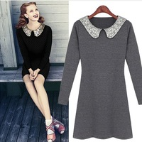 Женские блузки и Рубашки 2013 Doll collar t-shirt retro bottoming shirt lace shirt long-sleeved blouse beige 1352 retail