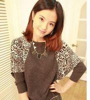 2012 new arrival autumn women's slit neckline batwing shirt sweater leopard print basic shirt sweater loose outerwear