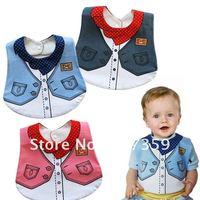 10pcs/lot New Baby Cotton Bibs girl & boys gentleman Bibs/burp cloths Feeding/Baby Smock Kids overclothes cloths 3 colors