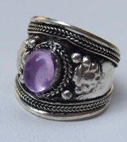 Tribal Ethnic Nepal Silver Purple Crystal jewelry ring