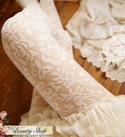 Women's ultra-thin white lace stockings rose pantyhose