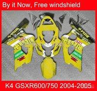 Yellow for SUZUKI K4 GSX R600 GSX R750 GSX-R600 GSX-R750 GSXR600 GSXR750 04 05 2004 2005 fairing B71