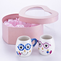 A M@ll Straw! Hand-in cup lovers mug ceramic cups romantic cup wedding gift heart box -cbt1