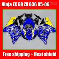 HOT Blue CORONA for KAWASAKI NINJA ZX 6R 636 05-06 ZX-6R ZX6R ZX636 6 R 05 06 2005 2006 Fairing Kit