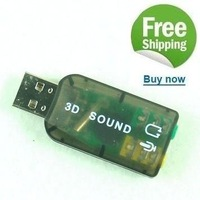 Free Shipping 100pcs/Lot  USB 5.1 Channel External Sound card for desktop laptop computer 3D 5.1 channel sound adapter for PC