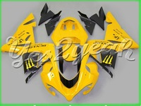 Fit Ninja ZX-10R 04 05 Black Yellow ABS Fairing 14W39