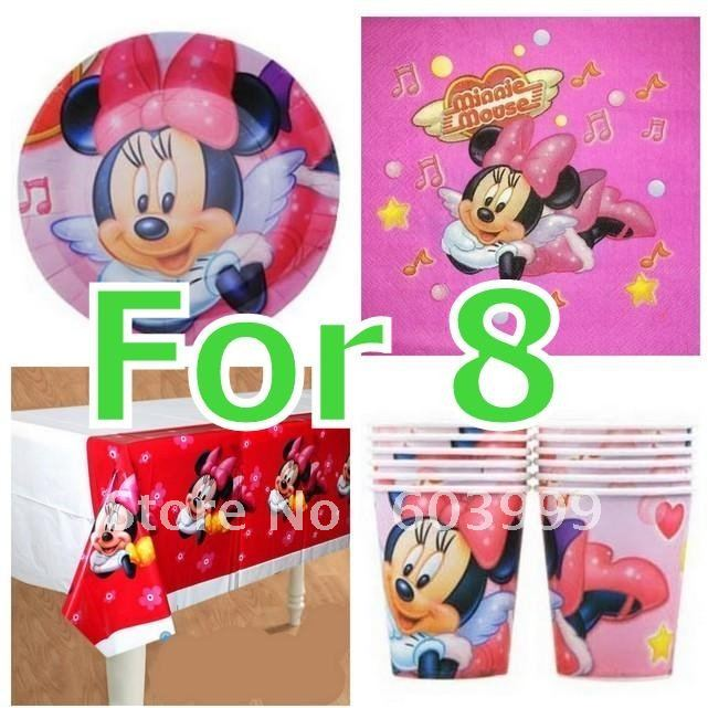 MINNIE MOUSE PINK birthday party decorations plates Cups napkins table ...