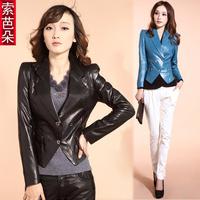 Women's 2012 autumn slim leather sheepskin outerwear blazer short design genuine leather clothing p86