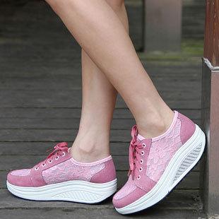 Plus size children shoes girls shoes casual shoes genuine leather cutout slimming shoes lace breathable platform swing shoes