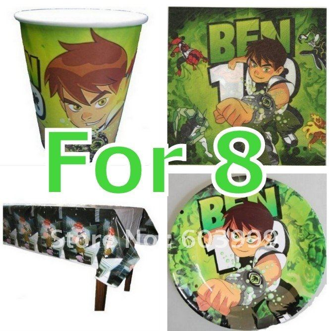 1 x Ben 10 ALIEN FORCE Party Supplies paper tableware Set Pack Kit for 8 cutlery plates Cups napkins table covers(China (Mainland))