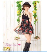 New Arrival Korea Flower V Neck Gallus   Women  Dress Black    Free  Shipping