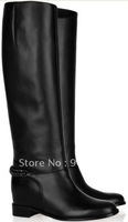 Free shipping BACK CHAIN BLACK FLAT GENUINE LEATHER BLACK KNEE HIGH WOMEN WINTER COMFORTABLE GOOD QUALITY BOOTS SHOE FOR WOMEN