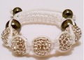 KIDS Shamballa Bracelet Disco Ball Beads Crystal WHITE W/ WHITE ROPE Children