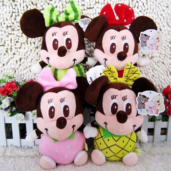 free shipping Small plush doll fruit MICKEY MINNIE wedding doll small gift suction cup