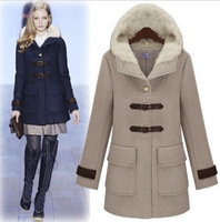Free shipping 2014 Star style personality  hooded single breasted wool coat outerwear fashion women's coats c113