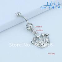 BJ00604!!Min Order is USD10! Stainless Steel Navel Ring Rhinestone Crystal Crown Metal  Navel Piercing Jewellery