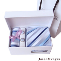 Jason vogue south korea Men's silk tie cufflinks handkerchief set zd005  Free Shipment 1set/lot