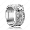 New Arrival!Promotion gift Triple 18K white Gold Plated Swaro Crystal Emulational Diamond three-in-one Ring R139W1