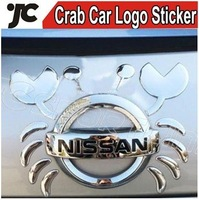 Free Shipping Crab Personalized 3D Car Logo Sticker on car PVC Car Sticker for All Logo 5Pieces/set