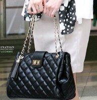 2014 fashion new stely diamond classic black messenger bag woman free shipping