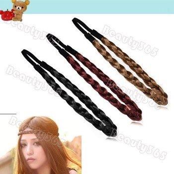 New Black Brown Wig Braided Headbands Head Bank Stretch Elastic Hair band Barrette Free Shipping  5128