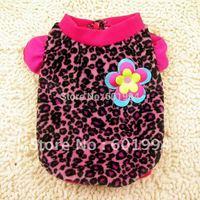 New Pet Dog Clothes Pretty Flower Leopard Warm Fleece Coat Soft Pet Clothes Dog Apparel Rose Mixed Purple