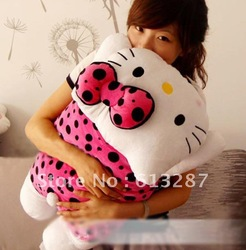 Free Shipping Kawaii 40cm Black Dots Pink Dress Hello Kitty Plush Dolls Christmas Gift For Kids,Stuffed Plush Toy Retail(China (Mainland))