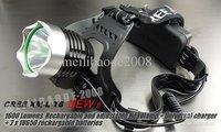 U03 1600 Lumens CREE XM-L XML T6 LED Headlamp Rechargeable Headlight 2x 18650