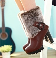 Free Shipping 34-43 Women Keep Warm Short Plush Snow Boots Thick Heel Winter Pumps Round Toe Half Sleeve Knight Boots W-7