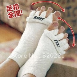 2012 Free Shipping 6pairs/lot Happy Feet Foot Alignment Socks As Seen On TV Comfy Toes Sleeping Socks Massage Five Toe Socks(China (Mainland))