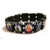 12 pieces/lot Wooden Jesus Holy Saints Christ Christian Religious Catholic Bracelets, Free Shipping