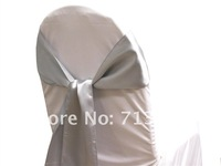 free shipping silver satin chair sash for wedding
