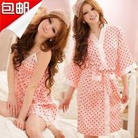 Women princess faux silk sexy spaghetti strap nightgown bathrobes twinset sleepwear plus size available