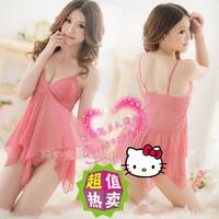 2012 summer women's plus size spaghetti strap lace sexy sleepwear gauze nightgown