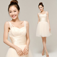 Free shipping 2012 bride wedding dress evening dress bridesmaid dress spaghetti strap formal dress bridesmaid dress short design