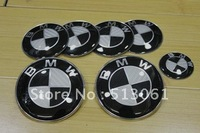 Free shipping SET 7 PIECE BLACK CARBON FIBER BADGES