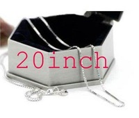 Promotions!Free shipping 1MM x 20inch length silver box chain necklace.fashion jewelry .Only $0.99