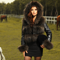 2013 winter raccoon fur sheepskin female genuine leather clothing fur women's hooded outerwear