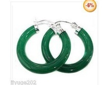 Tibet Silver Charming Green Jade Hoop & Huggie Earring