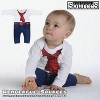 4pcs/lot,new 2014Baby boy school style rompers,fake tie belt long sleeve romper/jumpsuit baby clothing